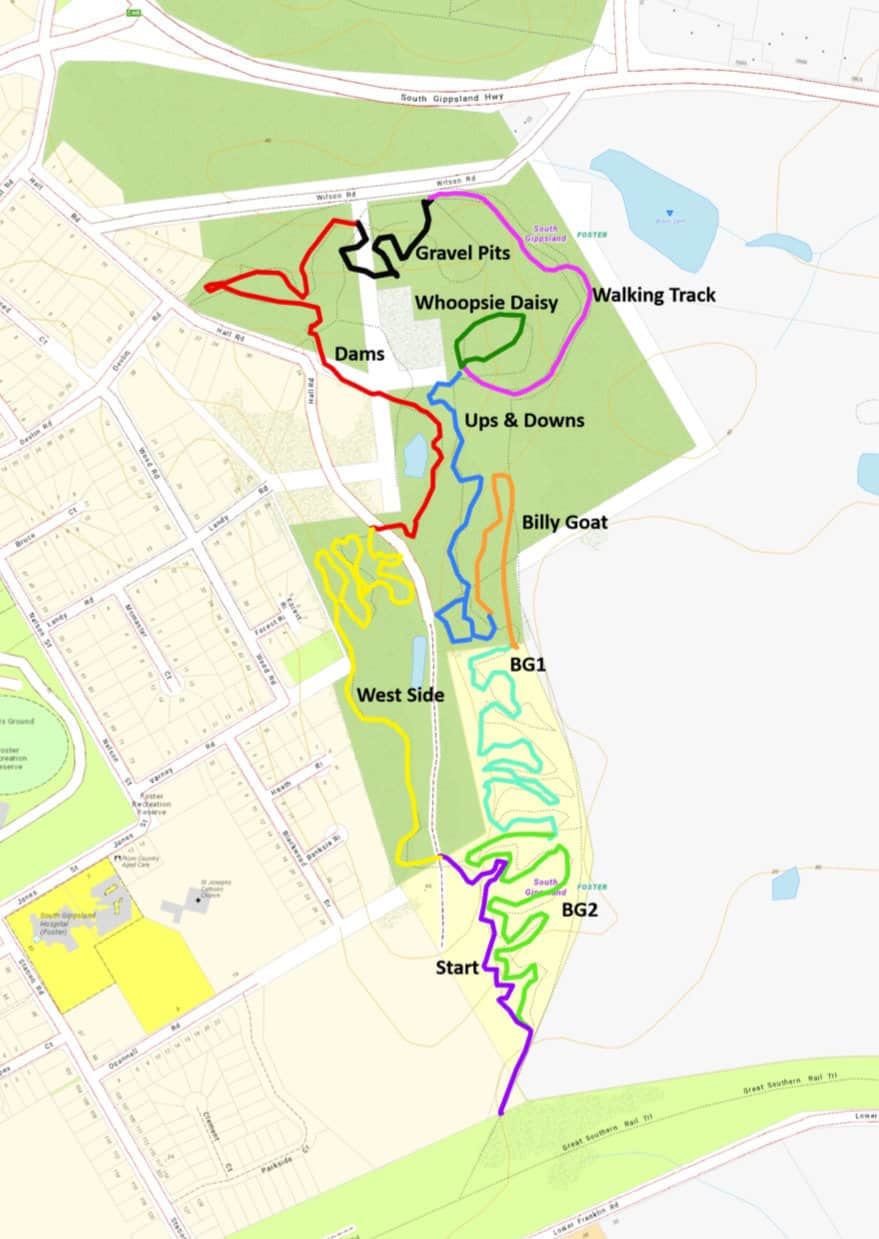 Cement Hill Prom Coast MTB trail map Nov 2018